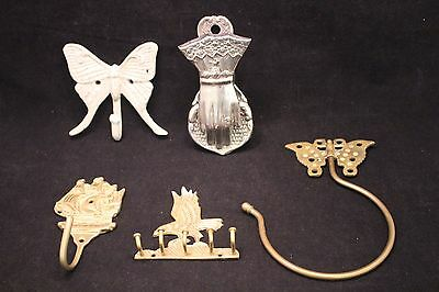Lot of 5 VINTAGE UNIQUE Hat Coat Key Mail Wall Hangers - Brass & Other Metal