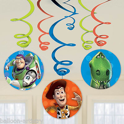 6 Disney Pixar's Toy Story Gang Children's Party Hanging Swirls Decorations