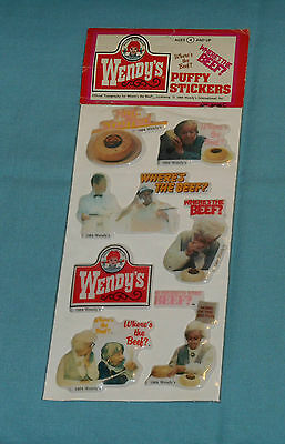 vintage Imperial WENDY'S restaurant WHERE'S THE BEEF PUFFY STICKERS