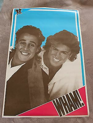 WHAM! 1980s GEORGE MICHAEL Andrew Ridgeley Blue Pink B&W Music Poster VG C6
