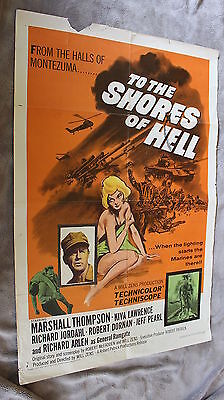 To the Shores of Hell 1965 Richard Arlen Viet Cong Marines One Sheet Poster GVG