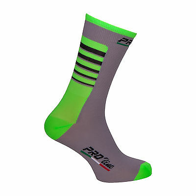 Calzini Ciclismo Proline Team Grigioverde Fluo Cycling Socks 1 Paio One Size New