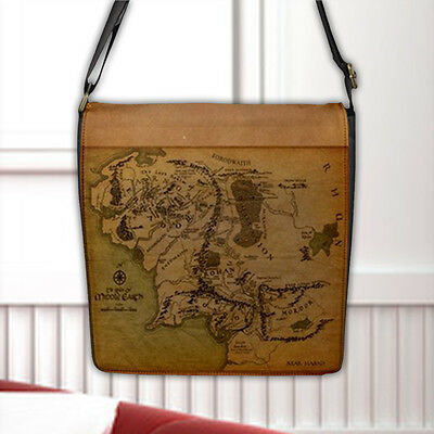 Map of Middle Earth Land The Lord Of The Rings Flap Closure Nylon Messenger Bag