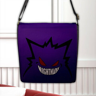 Gengar Ghost/Poison type Pokémon Nightmare Flap Closure Nylon Messenger Bag