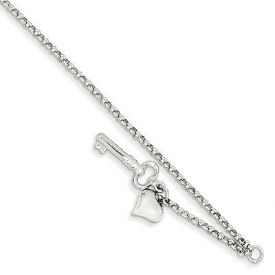 14k White Gold 10in Adjustable Polished Puffed Heart & Key Anklet