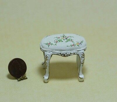 Dollhouse Miniature Hand Painted White Vanity Seat or Footstool