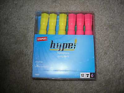 Hype Staples Brand Highlighters Chisel Tip 10400 12 Pack Assorted Colors New!!!