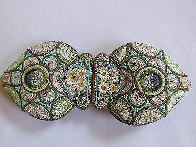 Antique / Vintage Italian Large Micro Mosaic Belt Buckle Unmarked Attractive