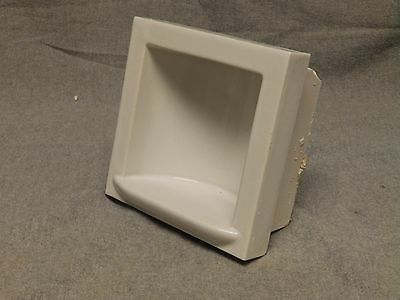Vtge Ceramic White Porcelain Recessed Tile In Soap Dish Bathroom Fixture 818-16