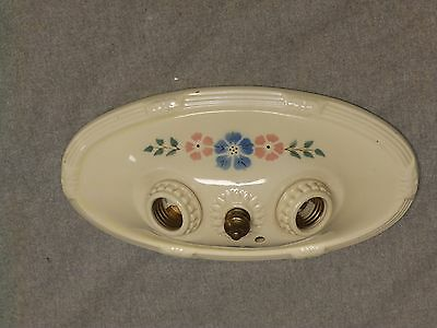 Vintage Porcelain Flush Mount Ceiling Light Ivory Blue Pink Floral Old 823-16
