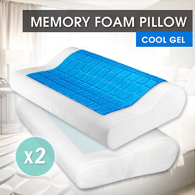 2 x COOL GEL TOP MEMORY FOAM PILLOWS - PREMIUM QUALITY VISCO CONTOUR PILLOW