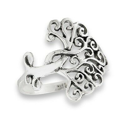 Interesting 925 Sterling Silver Tree of Life Ring w Celtic Swirl Motif Size 6-9