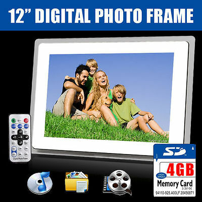 "New 12"" White HD Digital Photo Frame MP3 Audio Video Photograph + 4GB SD Card"