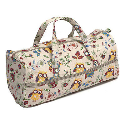 Hobby Gift MR4698/29 Owl Print on Natural Craft/Knitting Storage Bag 15x42x17½cm