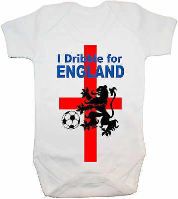 I Dribble For England Baby Grow/Bodysuit/Romper/T-Shirt Newborn-24M Football