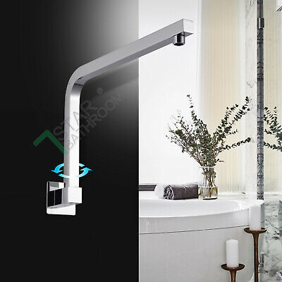 Bathroom Brass Chrome 180° Swivel Gooseneck Shower Head Wall arm Extension Round
