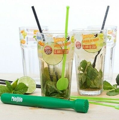 13 Piece Mojito Cocktail Glass Gift Set with Accessories Tumblers Crusher