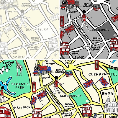 London Town Map.London Town On The Map British City 100 Cotton Patchwork Fabric Inprint