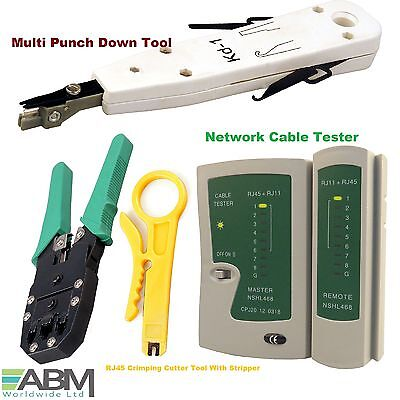 Ethernet Network LAN Kit RJ45 Cat5e Cable Tester Punching Crimper Crimping Tool