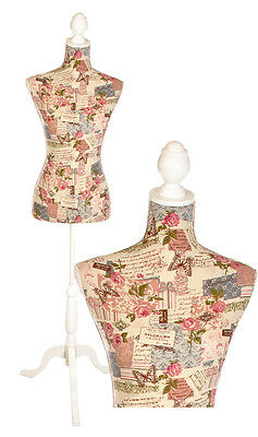 TC20130544 | Vintage Butterfly & Rose Dressmaker's Mannequin | White Wood Stand