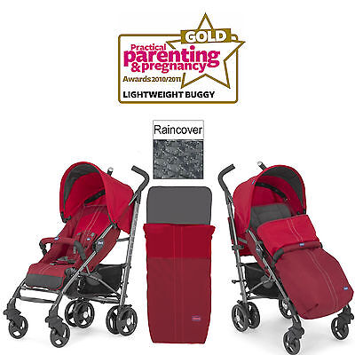Chicco Red Liteway 2016 Stroller Birth+ Pushchair With Raincover & Footmuff