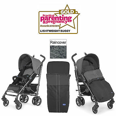 Chicco Coal Liteway 2016 Stroller Birth+ Pushchair With Raincover & Footmuff