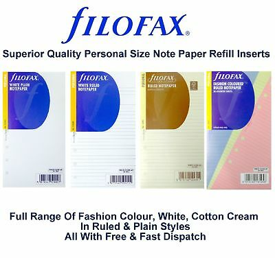 Filofax Personal White Cream Colour Ruled Plain Notepaper Assorted Insert Refill