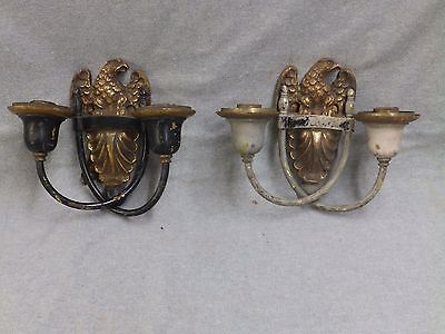 Antique Brass Double Sconce Pair Old Eagle Wall Light Fixtures Vintage 830-16