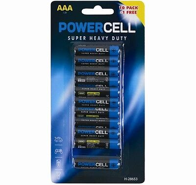 11 AAA Powercell Batteries Heavy Duty Mercury Free LR03 Professional Pencil