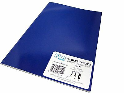A4 Blue Artist Sketch Books Drawing Sketching Plain Paper Pads Laminated 140gsm