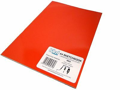 A4 Red Artist Sketch Books Drawing Sketching Plain Paper Pads Laminated 140gsm
