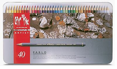 Caran Dache Pablo Colour Pencils Water Resistant Sketching Metal Tin Set Of 40