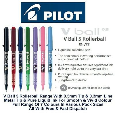 Pilot V Ball 5 Fine Rollerball Pen Pens 0.5mm Metal Nib 0.3mm Line Liquid Ink