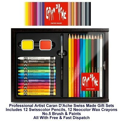 Caran Dache Swisscolor 12 Neocolor II 12 Brush & Paints Art Set Pencil & Crayon