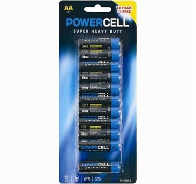 11 AA Powercell Batteries Heavy Duty Mercury Free LR6 1.5V Professional Pencil