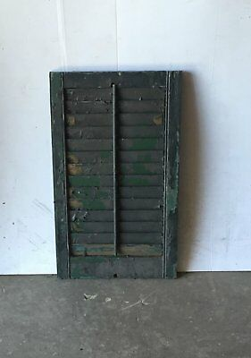 """1 Vtg House Window Wood Louvered Shutter Shabby Old Chic 28"""" X 17"""" 834-16"""