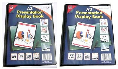 A3 Display Books Black Project Presentation Folder Document Folio Hard Cover