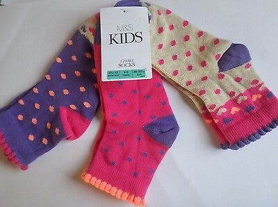 New M&s Girls 3 Pairs Ankle Socks 3-6 Years 8 1/2-12 Shoe 26-30 1/2 Eur