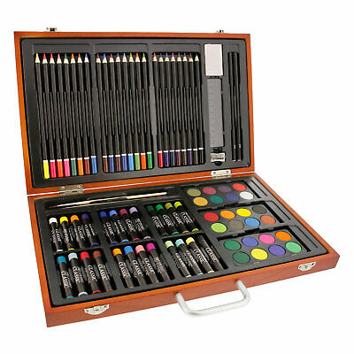 82 Piece Wood Box Artist Drawing, Colored Pencil, Watercolor, Wax Pastel Set