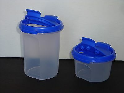 Tupperware Modular Mates Rounds #1 and #2  Brilliant Blue Pour Shake Seals New