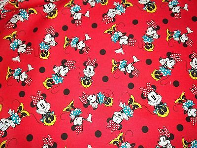 New Hand Made Minnie Mouse Posing on Red Fitted Crib/Toddler Sheet