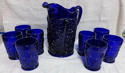 Mosser Cobalt Blue Glass Maple Leaf Crackle Panels 48 Oz Pitcher 8 Tumblers 8 oz