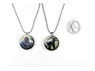Silverback Gorilla Zoo Animal Large Ape 2 Sided Necklace