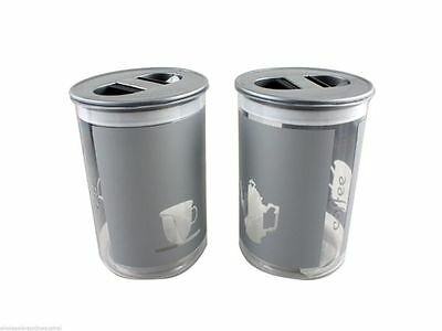 2 x Canisters Coffee Tea Italian design containers 13cm tall 10.5cm diameter