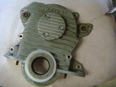 Original Weiand Ford 289 302 351W Finned Aluminum Timing Cover W/ Fuel Inj. Pump