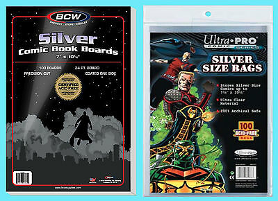 "100 BCW SILVER AGE SIZE COMIC BOOK BACKING BOARDS & ULTRA PRO BAGS 7"" x 10-1/2"""