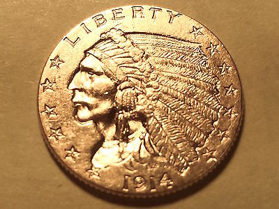 1914-P $2 1/2 Indian Gold Piece * Choice BU * Very Low Mintage *