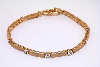Frosted CZ Cubic Zirconia Gold Plated Link Bracelet