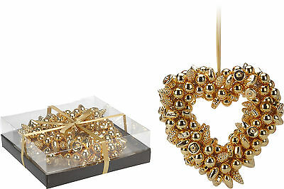 Stunning 30cm Heart Glass Baubles Christmas Wreath Xmas Decoration Door Wreath