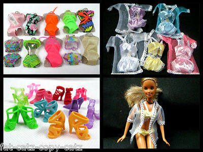 Barbie Doll Sized Clothing 10+ Items Dress Bikini Underwear Lingerie Shoes Boots